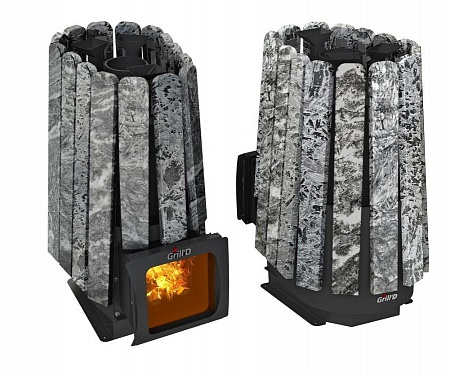 Дровяная печь Grilld Cometa 350 Vega Stone Short Window Max Змеевик